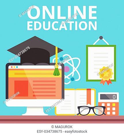 Online education concept. Flat design. Creative vector illustration