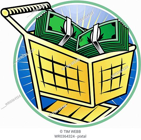 shopping cart of money