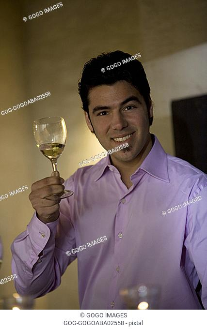 Man holding a wine glass