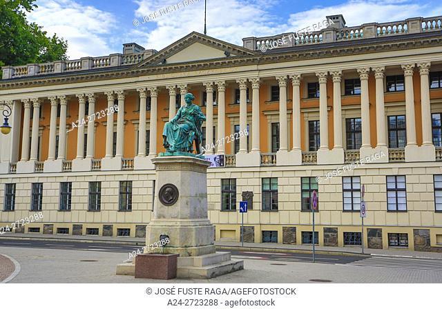 Poland, Poznan City, Public Library Bldg. , Statue of Hygeia greek goddess of health