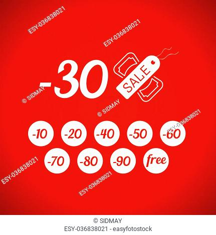 Sale symbol with percent discount, tag and dollar icon, vector illustration