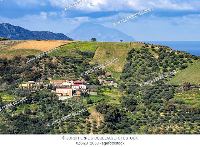 Landscape and Vulcano island on the background, from the road SP 108, Province of Messina, Sicily, Italy, Europe