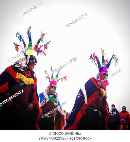 Pîlgrims dance during the annual pilgrimage to Our Lady of Guadalupe Basilica in Mexico City, Mexico