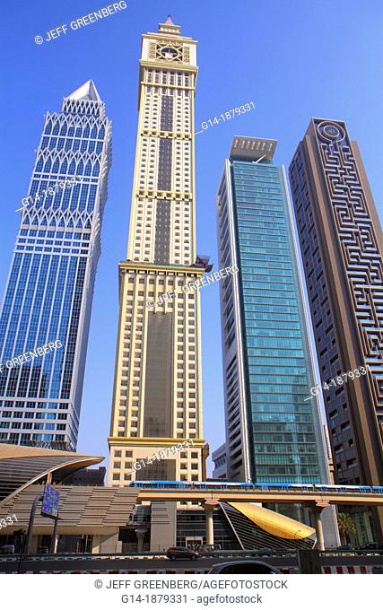 United Arab Emirates, Dubai, Trade Centre, Sheikh Zayed Road, Emirates Towers Metro Station, Red Line, Al Yaqoub Tower, Capricorn Tower, Al Rostamani Maze Tower