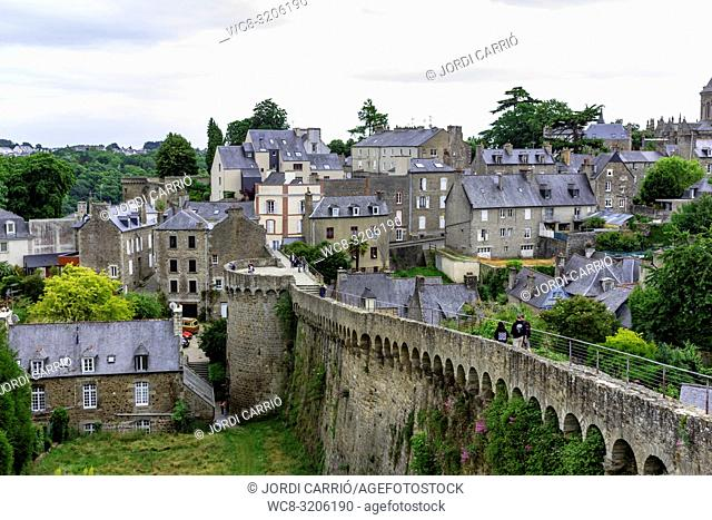 DINAN, BRITAN, FRANCE - JUNE -2015: View of the walls and the medieval city of Dinan, where tourists visit them on June 22, 2015