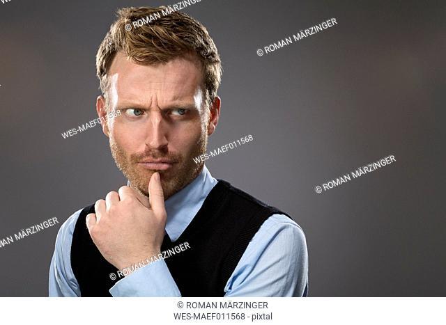 Portrait of sceptical man