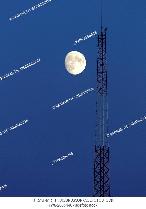 Moon over telecommunications tower, Iceland
