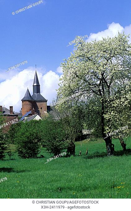 fortified church of Plomion in the Thierache region, Aisne department, Picardy region, northern France, Europe