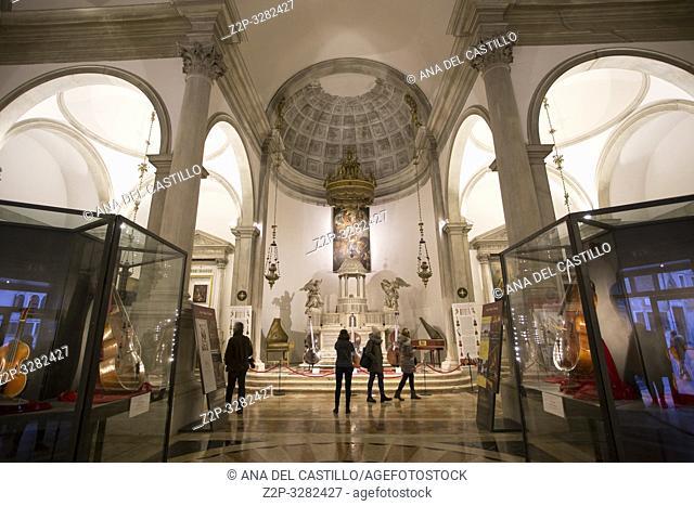 Venice Veneto Italy on January 19, 2019: Maurice church interior with instruments