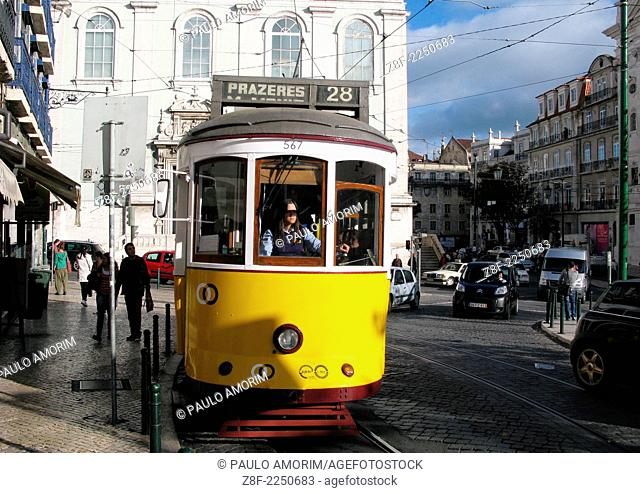 Streetcar No. 28 at Baixa Chiado in Lisbon