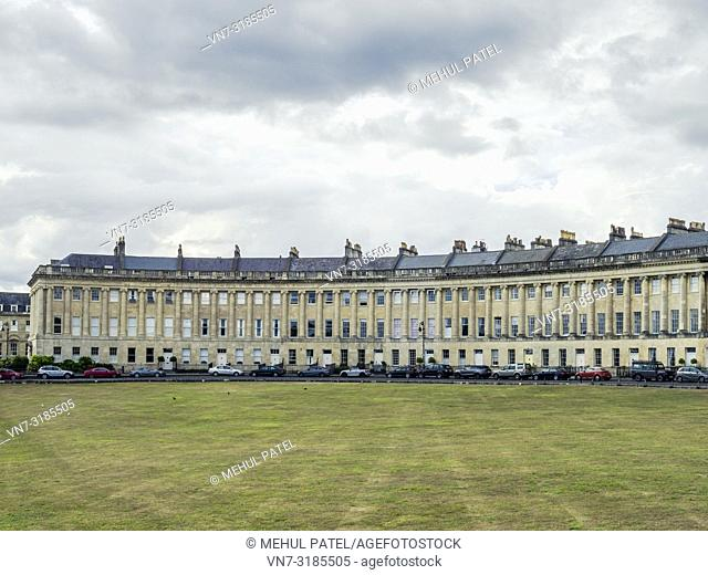 Grade I listed Georgian houses on the Royal Crescent, Bath, Somerset, England, UK. The Royal Crescent is an iconic landmark in the city of Bath, England