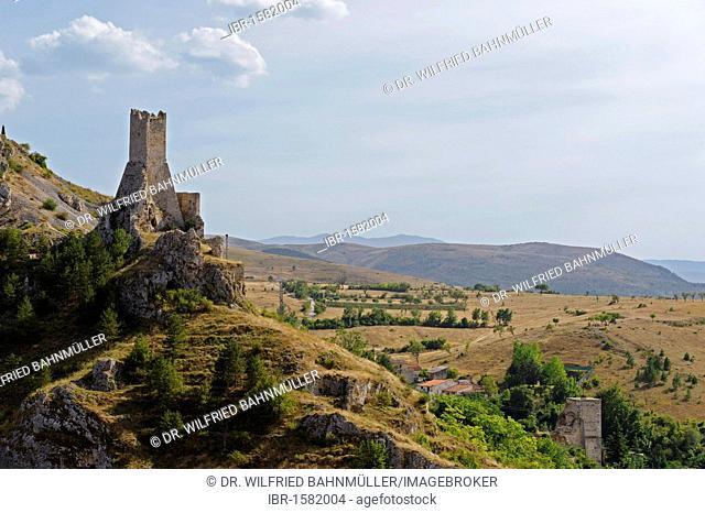 Medieval tower of Pescina, Valle del Giovenco, province of L'Aquila, Abruzzi, Abruzzo, Italy, Europe