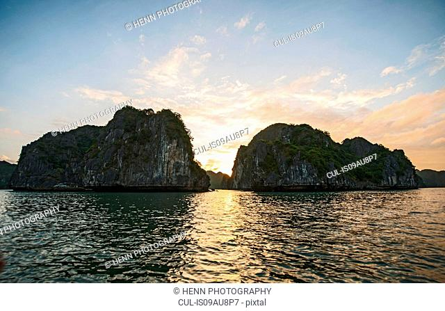 Limestone cliffs at Halong Bay, Vietnam