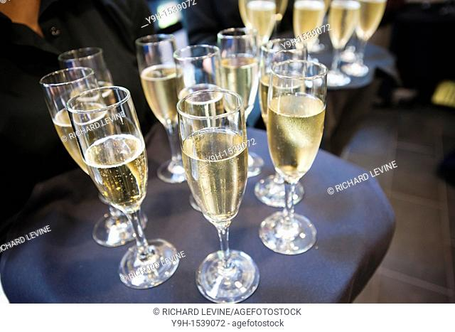 A waitperson serves champagne to guests at the opening of a restaurant in New York on Friday, September 2, 2011  © Richard B  Levine