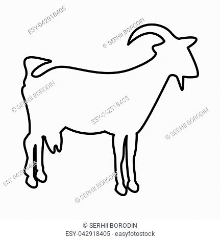Goat it is black icon . Flat style