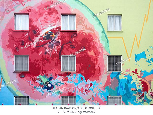 Health centre ( Centro de Salud ) painted with images to promote a healthy lifestyle in Santa Cruz de Tenerife, Canary Islands, Spain