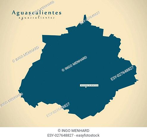 Modern Map - Aguascalientes Mexico MX illustration