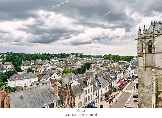 High angle view of church and rooftop cityscape, Amboise, Loire Valley, France