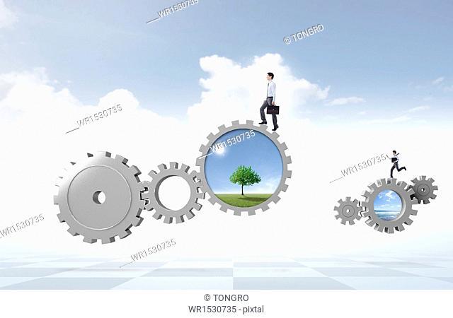 business men walking on gears