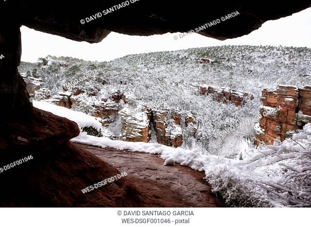 Spain, Province of Guadalajara, Molina de Aragon, Corduente, Barranco de la Virgen de la Hoz in winter