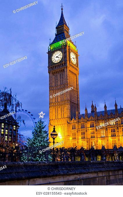 A view of Big Ben (The Houses of Parliament) at Christmas