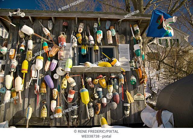 Bait shack decor, Mackeral Cove, Bailey Island. Harpswell, Maine, USA