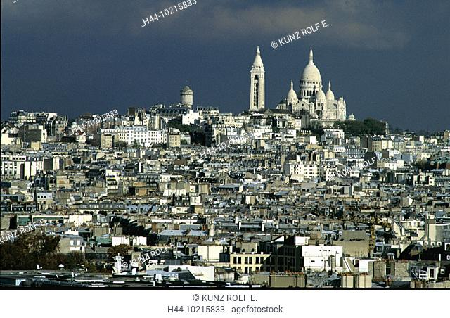 10215833, France, Europe, gray, sky, Paris, Sacre Coeur, overview, clouds, weather