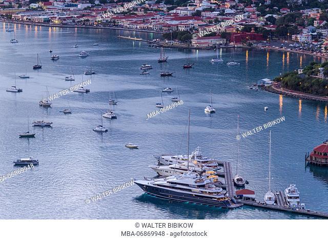 U.S. Virgin Islands, St. Thomas, Charlotte Amalie, Havensight Yacht Harbor, elevated view, dusk