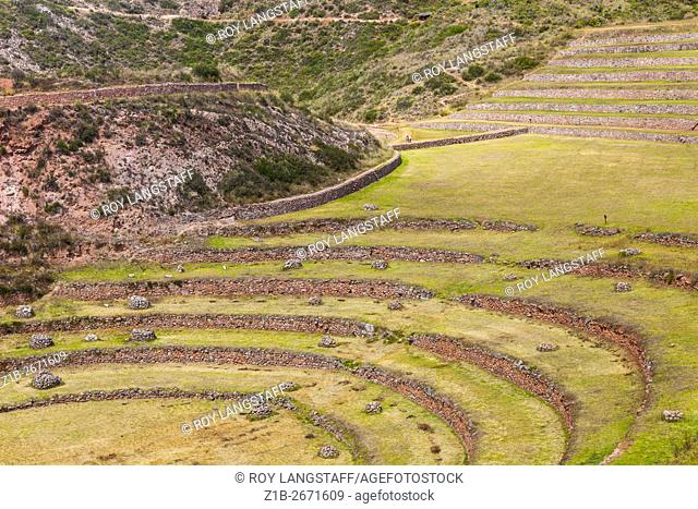 Damage to Incan stone terraces after unusually heavy rains, Moray, Peru