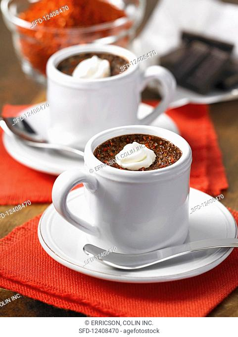 Two cups of hot chilli chocolate