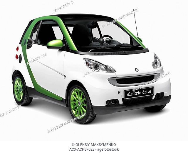 2010 Smart Fortwo Electric Drive - eSmart - Smart ED battery powered city car. Isolated on white background