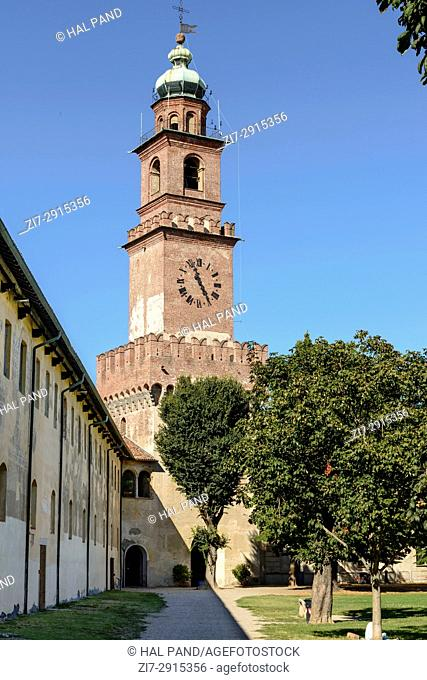 view of historical Bramante tower in Renaissance castle of small town, shot in a bright summer day at Vigevano, Pavia, Lombardy, Italy