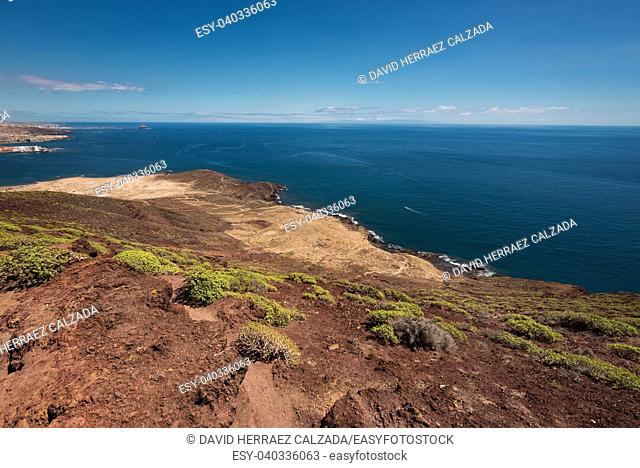 Tenerife south coastline view from the top of the red mountain volcano peak