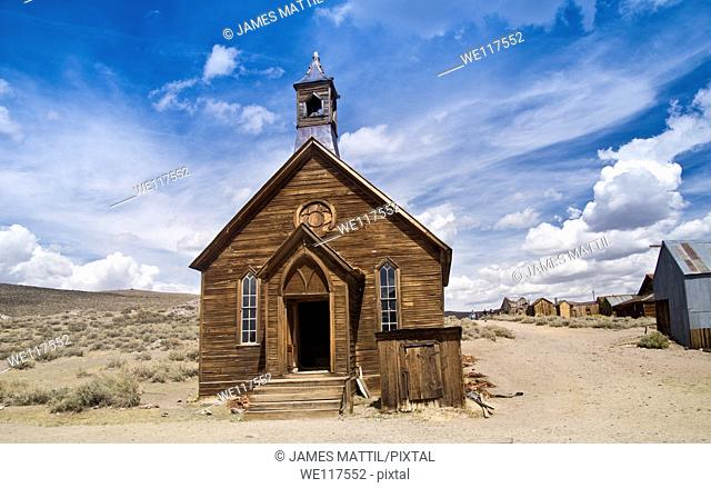 Authentic frontier church at the restored Eastern Sierra ghost town of Bodie, California