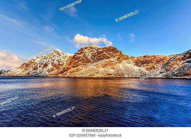 Stamsund in the Lofoten Islands, Norway in the winter