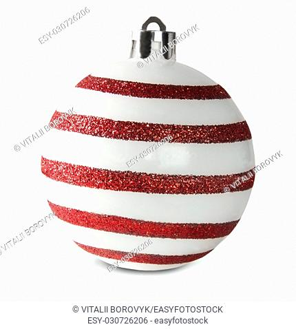 Red And White Christmas Ball Isolated On White Background