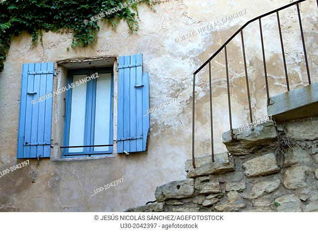 House of Gordes village, labeled The Most Beautiful Villages of France, Vaucluse department, Provence-Alpes-Cote d'Azur region. France