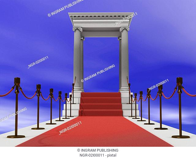 majestic red carpet staircase in antique style (3D rendering)