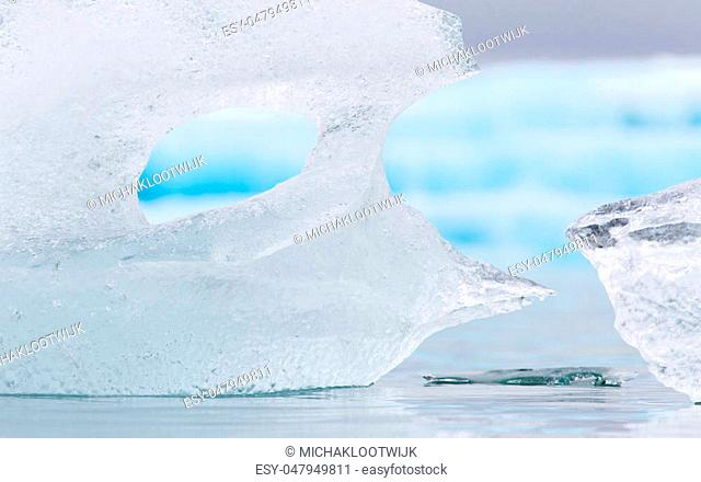 Close-up of melting ice in Jokulsarlon glacial lake in southeast Iceland