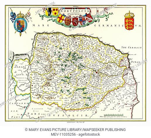 Map of Norfolk by Johan Blaeu