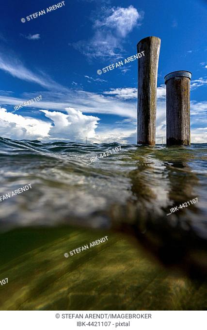 Jetty under water during a flood, Allensbach, Lake Constance, Germany