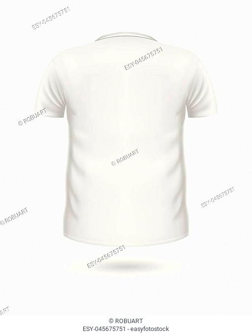T-shirt template, back view. White colors. Realistic vector illustration in flat style. Sport clothing. Casual men wear. Cotton unisex polo outfit