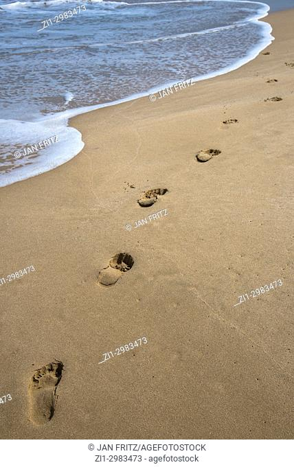 footprints in the sand of a empty beach at Trincomalee, Sri Lanka