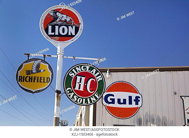 Kramer Junction, California - Old gas station signs on display at an antique dealer in the Mojave Desert