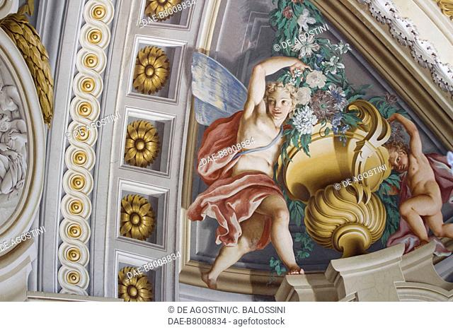 Winged ephebes, central hall with frescoes by Domenico and Giuseppe Valeriani, Hunting residence (UNESCO World Heritage Site, 1997)