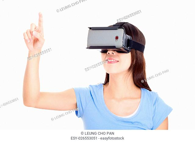 Young Woman looking though virtual reality device