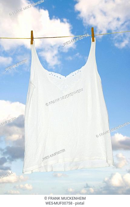Undershirt hanging on clothesline