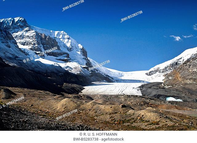 Athabasca glacier in the Columbia Icefield in the Rocky Mountains, Canada, Alberta, Jasper National Park