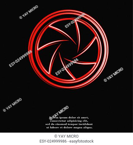 Photo camera diaphragm icon flat design with abstract background