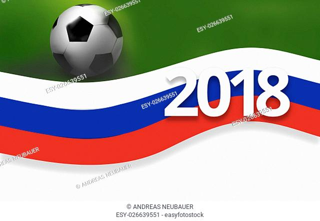 2018 football russia soccer flag background 3D